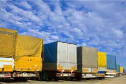 group of big trucks